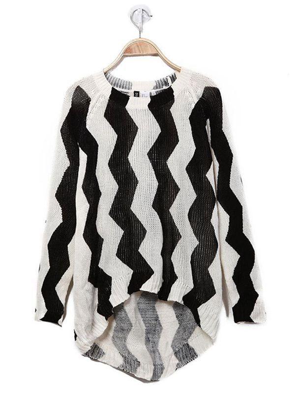 Black Round Neck Pullover Print Sweater : KissChic.com