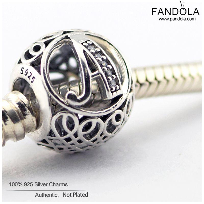 European Bracelet Charm Authentic 925 Sterling Silver Alphabet Vintage Letter P