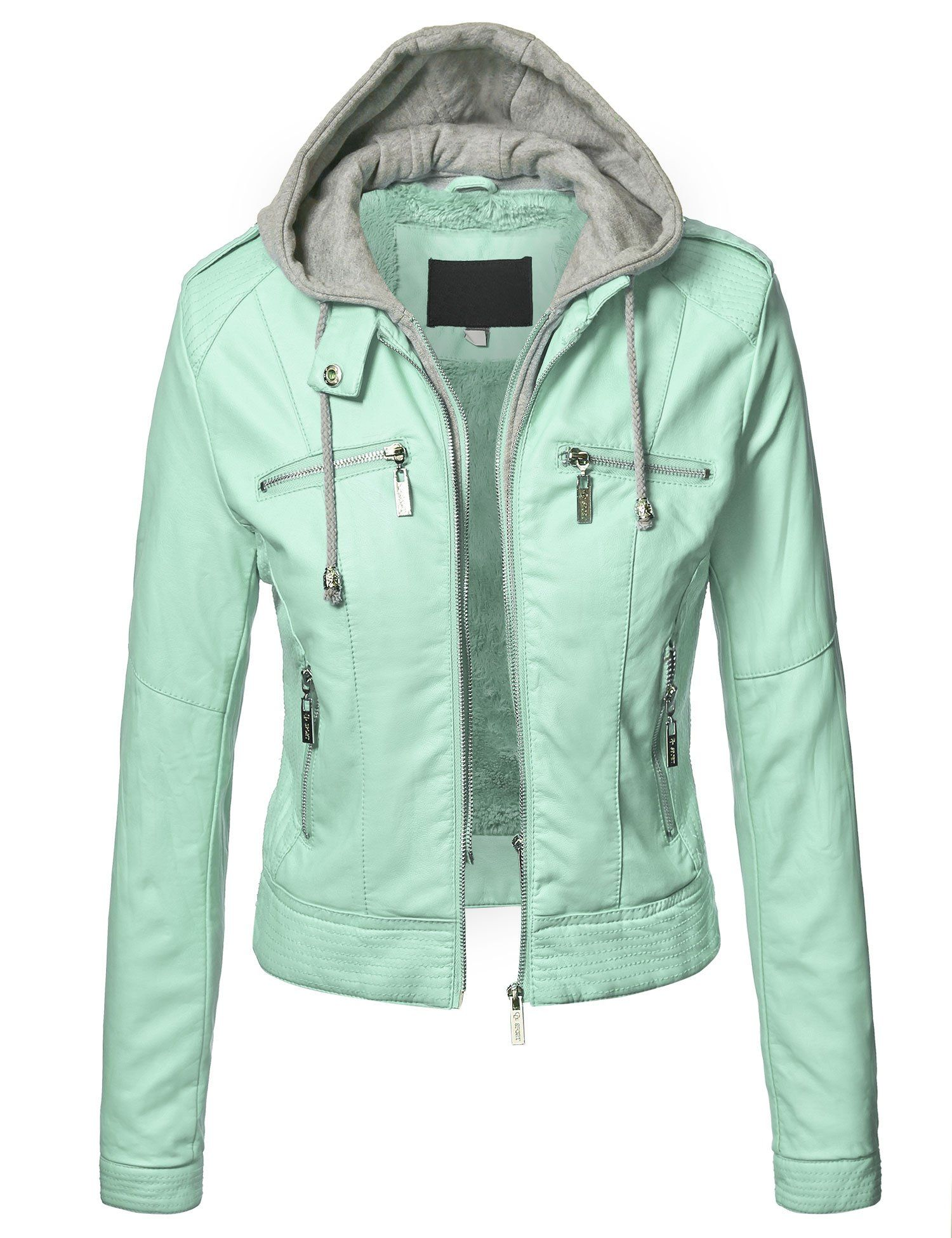 Lock and Love Womens Faux Leather Zip Up Moto Biker Jacket