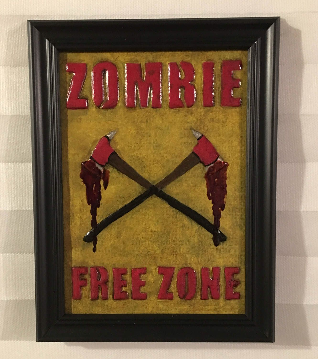 Zombie Free Zone Art - Metal Wall Art - The Walking Dead Art ...