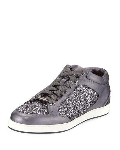 2b3410b071c0 Jimmy Choo Miami Leather and Star Glitter Sneaker