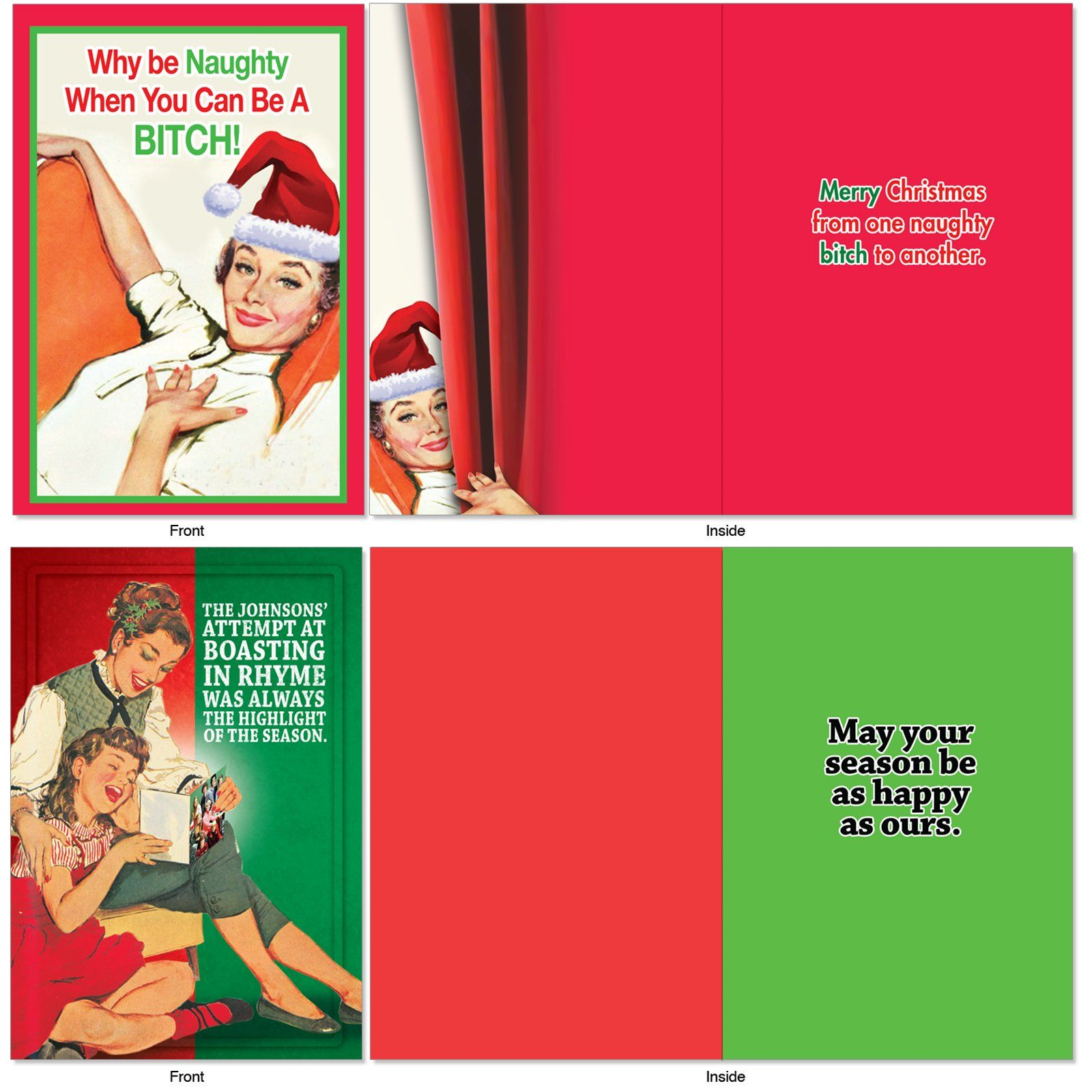 10 Boxed Funny Christmas Cards With Envelopes 45/8 x 63/4 Vintage ...