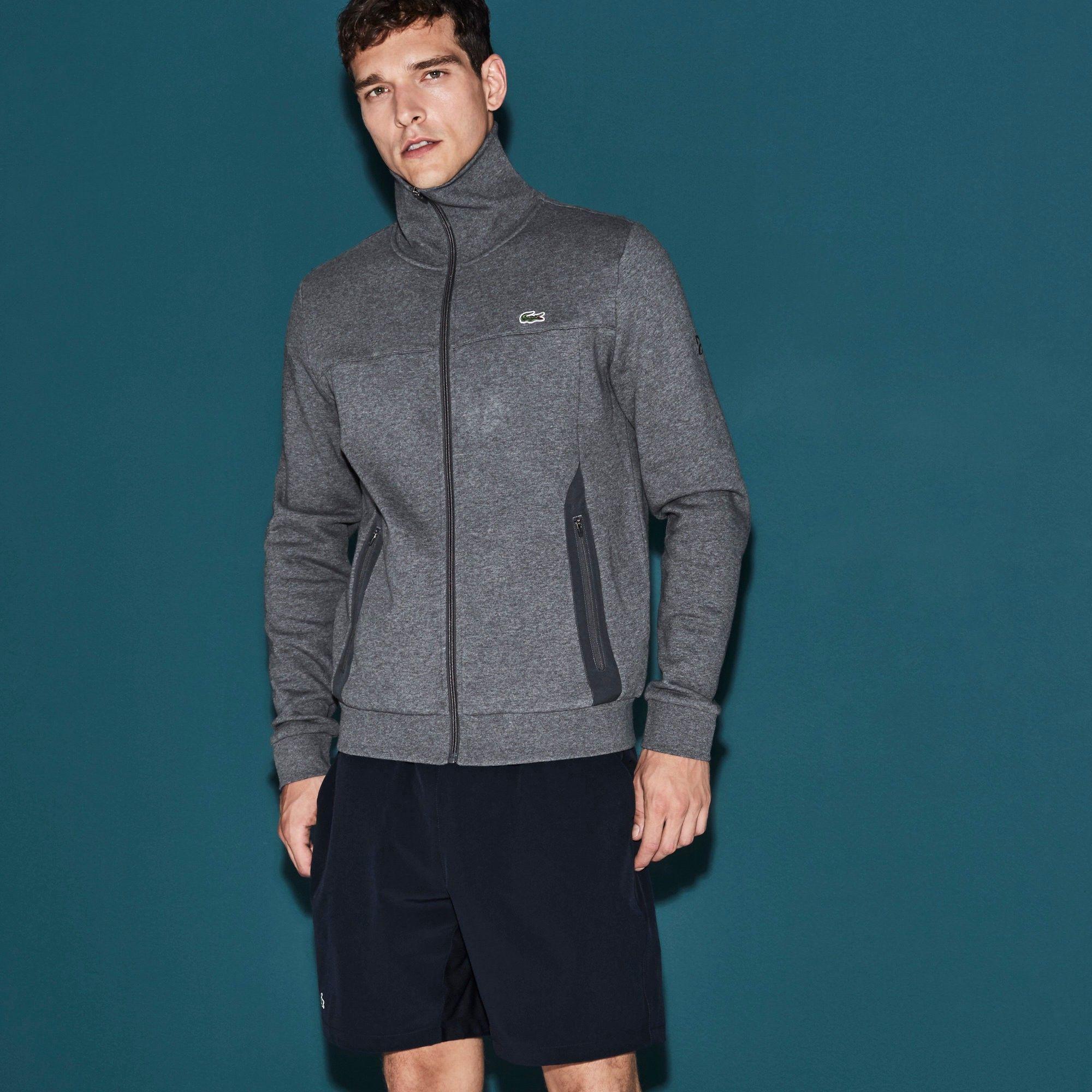 3126268728 LACOSTE Men's SPORT Tennis Zippered Fleece Sweatshirt - Novak Djokovic  Supporter Collection - pitch grey. #lacoste #cloth #