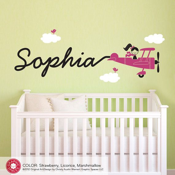 Airplane Name Wall Decal Girl Skywriter Travel Theme Nursery Baby ...