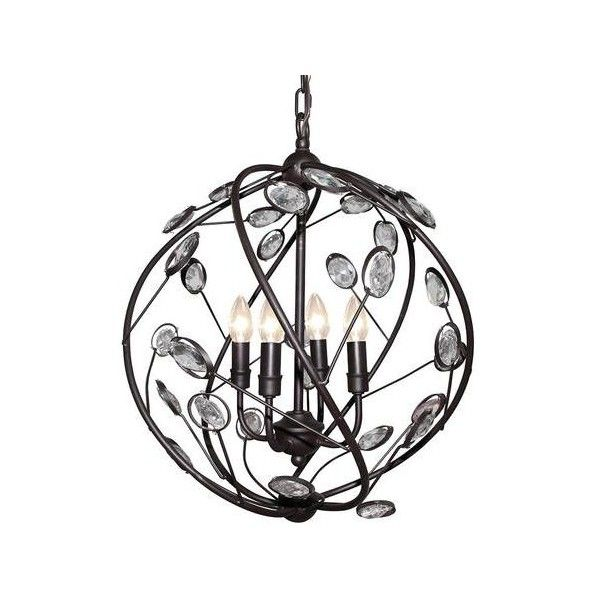 LNC 4-Light Industrial Pendant Light with Crystal,Matte Balck (£98) ❤ liked on Polyvore featuring home, lighting, ceiling lights, mounted lights, light bulb lights, crystal lighting, crystal ceiling lights and crystal hanging lights
