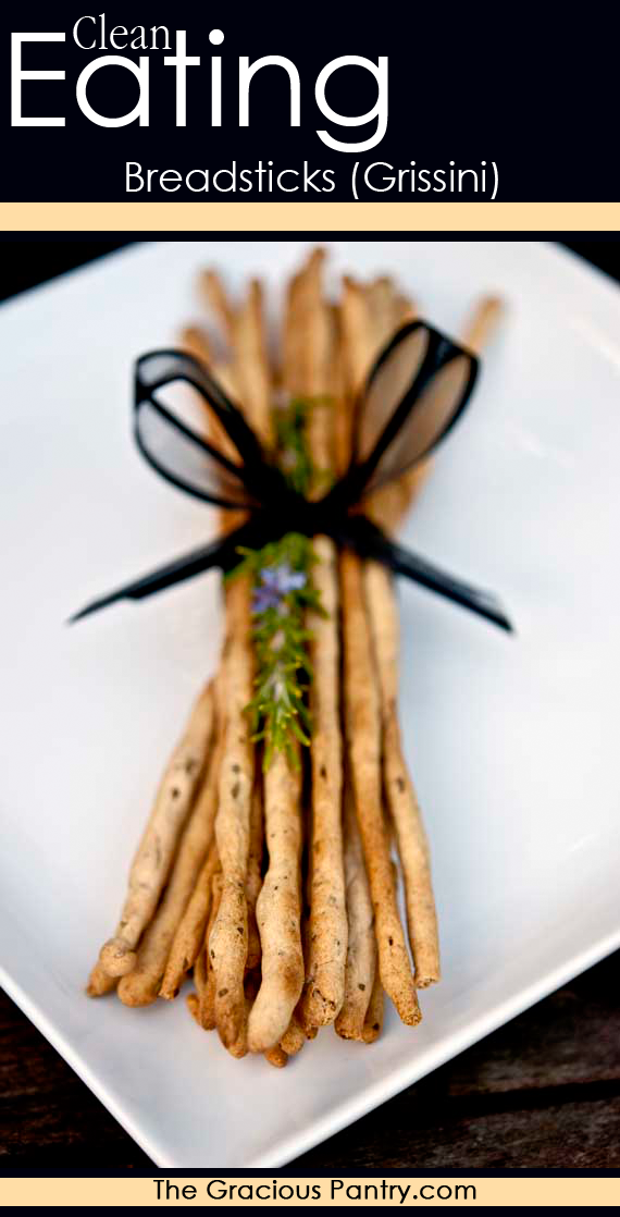 These Clean Eating Breadsticks (Grissini) make a fun and personal gift. Pair them with home homemade herb butter! Delish!