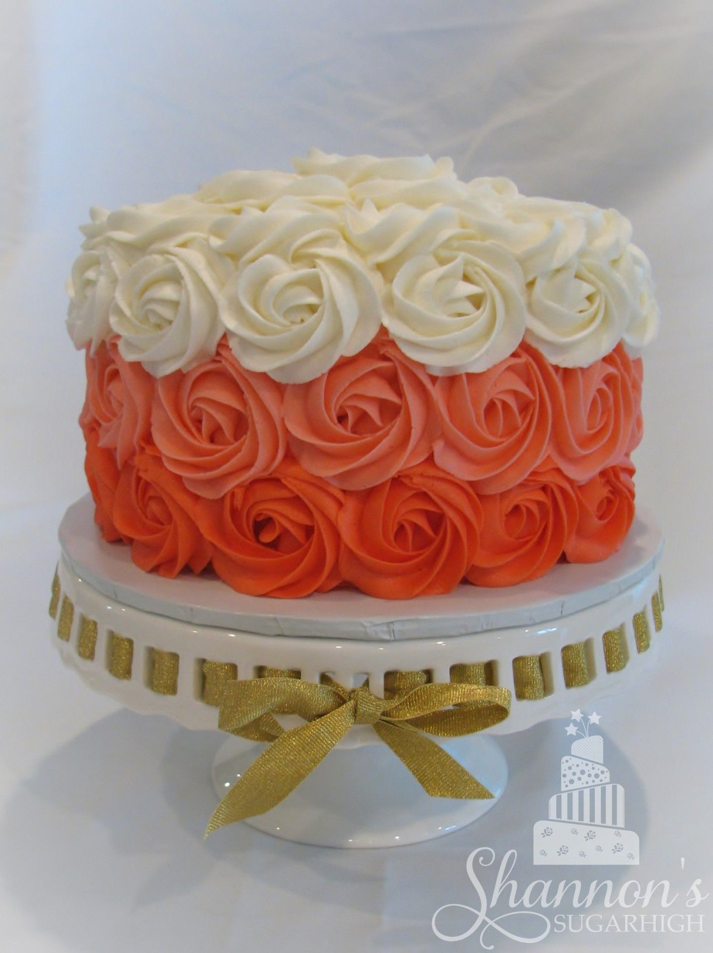 Ombre Rose Cake in coral for baby shower with matching painted