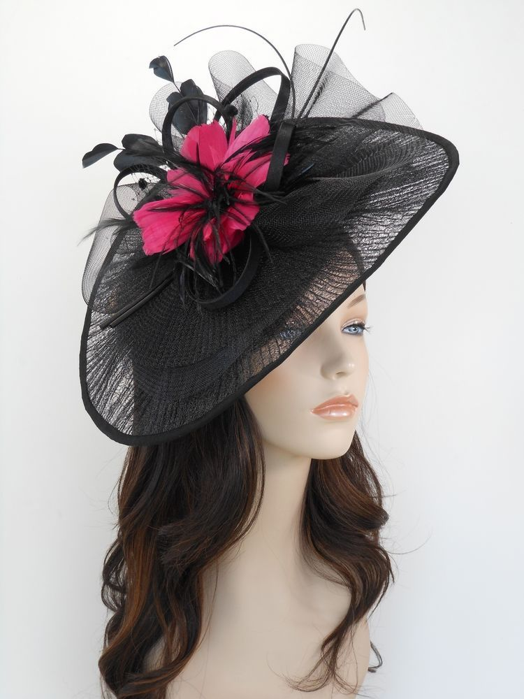 New Church Derby Wedding Pleated Fascinator Hat Headband 2450 Black   Hot  Pink 37efc32f743c