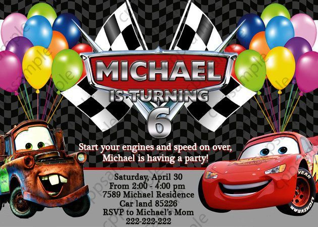 Printable images of lighting mcqueen and mater for birthday disney cars lightning mcqueen and mater birthday party invitation digital file filmwisefo Gallery