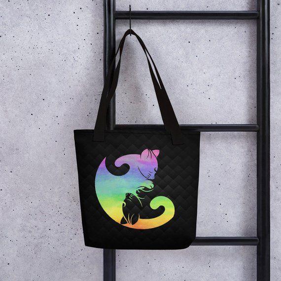 c085a5f225  Cat  YinYang  ToteBag  Rainbow  Yoga  Meditation  Balance  LGBT Tote bag