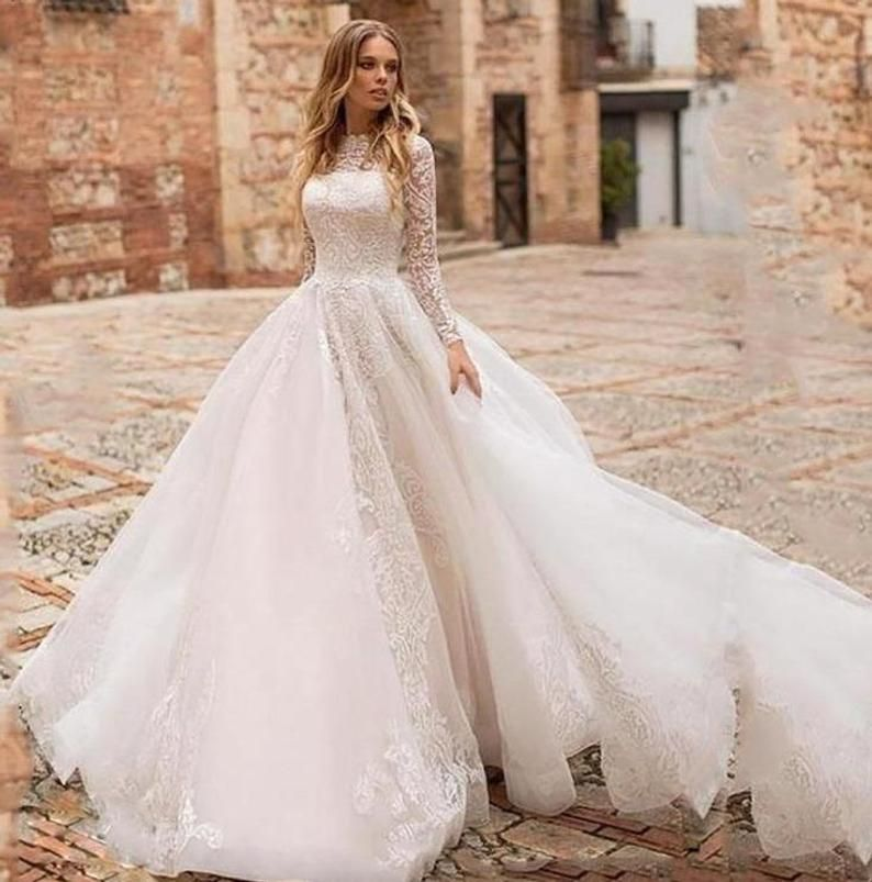 Princess Wedding Dress A Line Long Sleeve Lace A Line Bridal Etsy In 2020 Ball Gowns Wedding Wedding Dress Tulle Lace Simple Informal Wedding Dresses