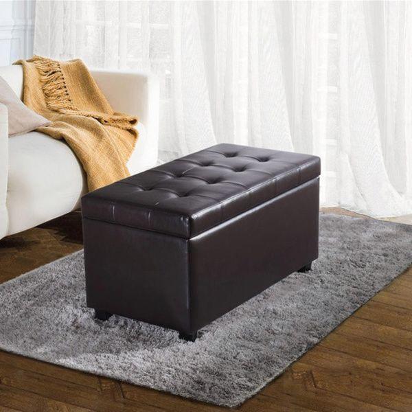 WYNDENHALL Essex Medium Rectangular Faux Leather Storage Ottoman Bench
