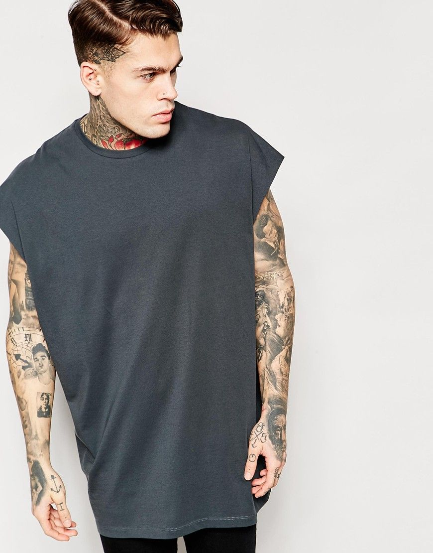ASOS Super Oversized Sleeveless T-Shirt In Grey With Raw Edge at asos.com