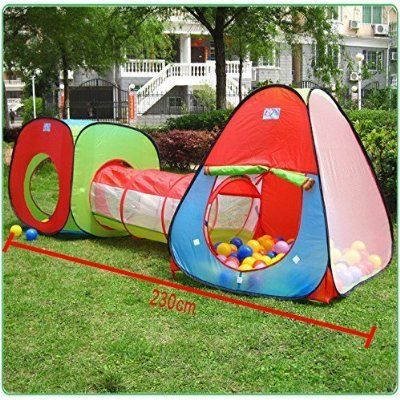 Roadacc (TM) One Square Cubby-One Triangle Cubby-One Tunnel 3 in 1 Children's Playground. Play Tent House and Tube for Kids Great for Fun Indoor and Outdoor