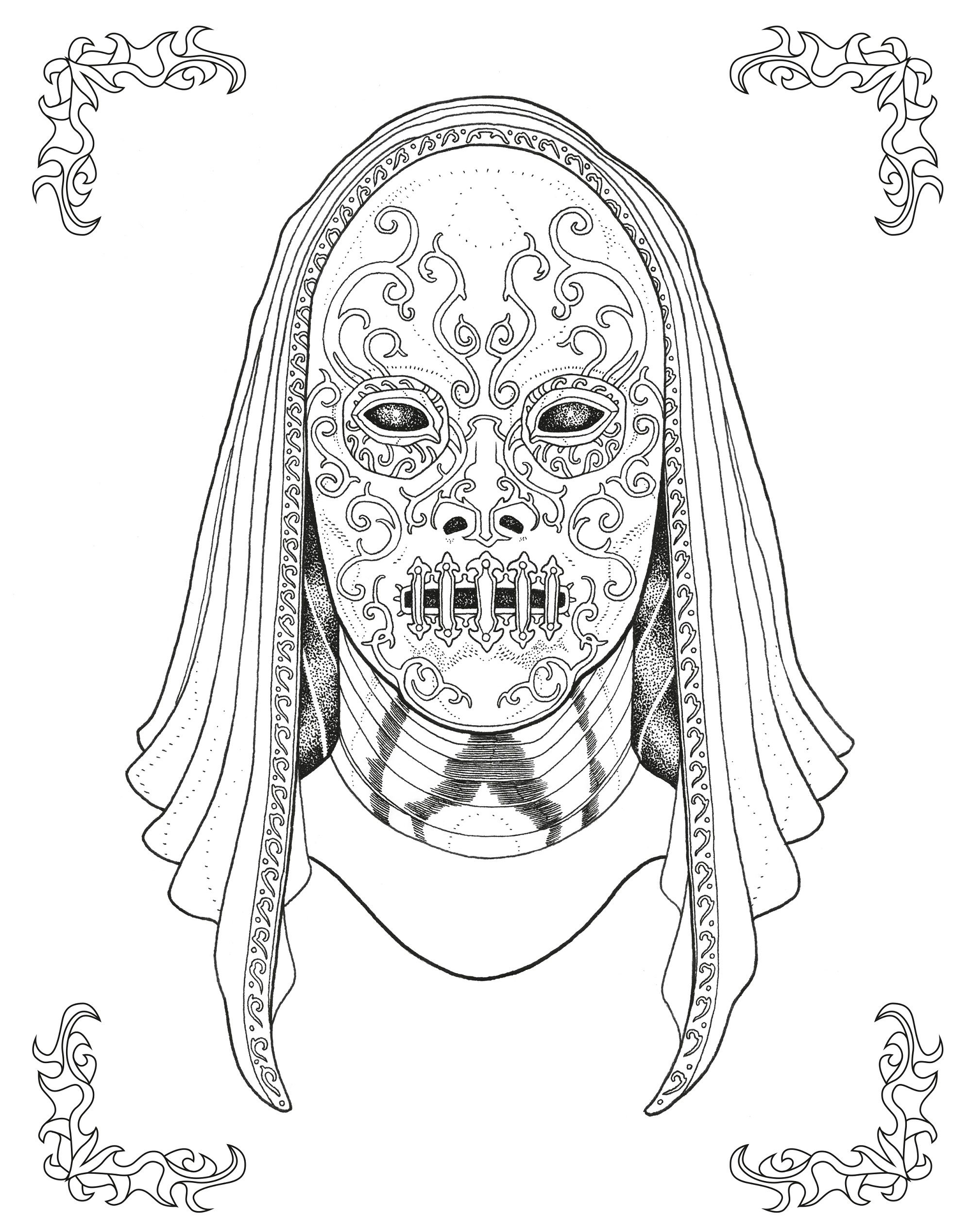 This Death Eater Design From The Harry Potter Magical Places And Characters Colouring Book Is Fantastic