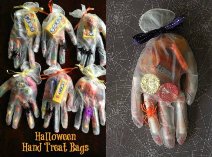 Einweg Gummihandschuhe Mit Süßigkeiten Füllen Halloween