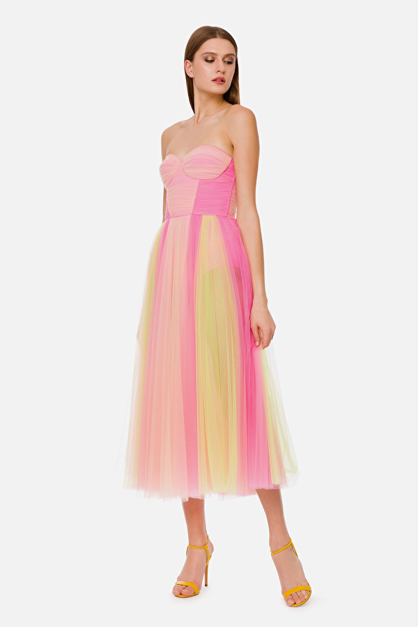 Midi-Kleid aus Tüll mit Herzausschnitt in 2020   Rosa ...