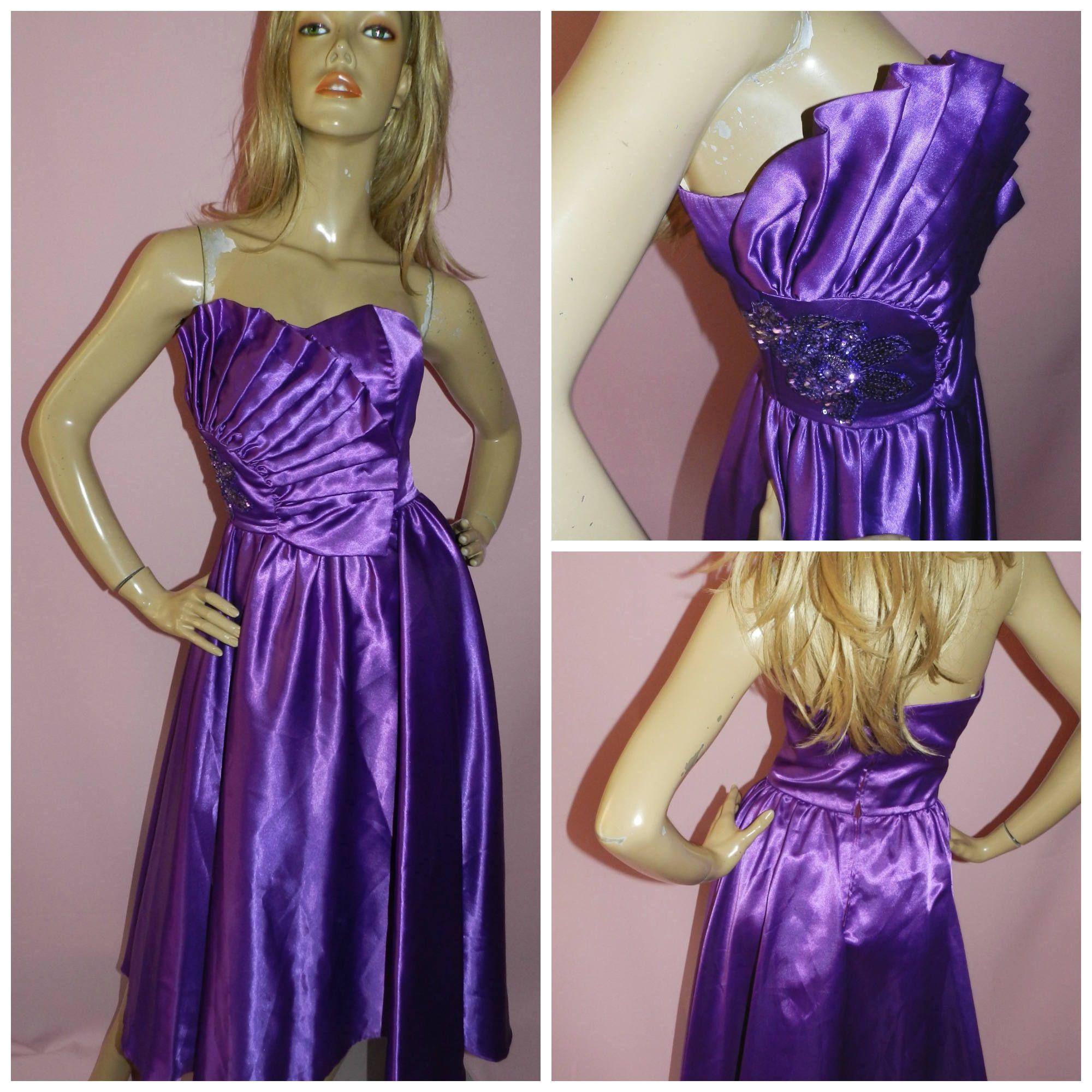 Vintage 80s Purple STRAPLESS SEQUIN Trim Avant Garde Prom Party ...
