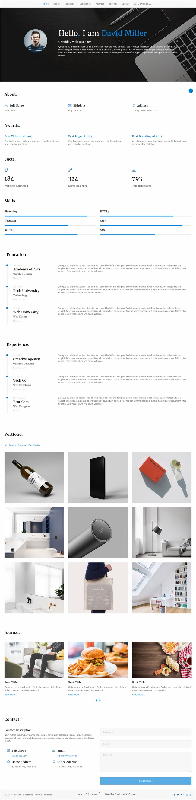 Darren is clean and modern design 3in1 #bootstrap template for ...