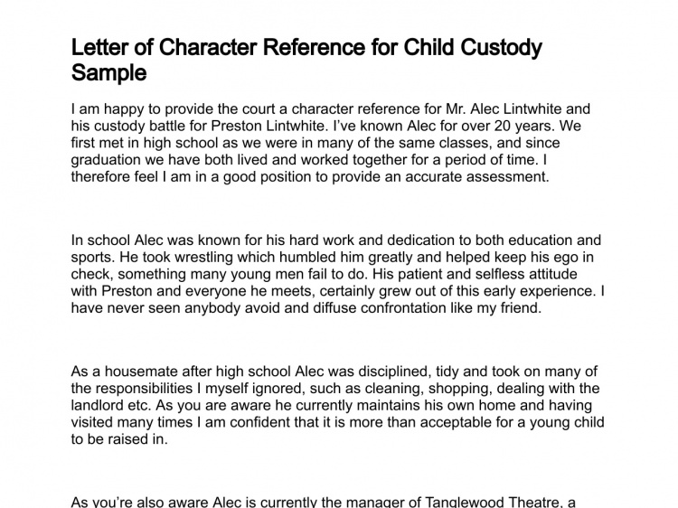 sample character reference for child custody