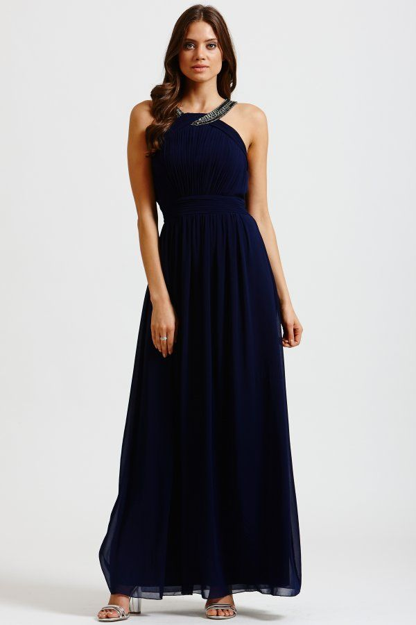 9581cb8e5a1 Little Mistress Navy Chiffon Embellished Twist Maxi Dress - Little Mistress  from Little Mistress UK