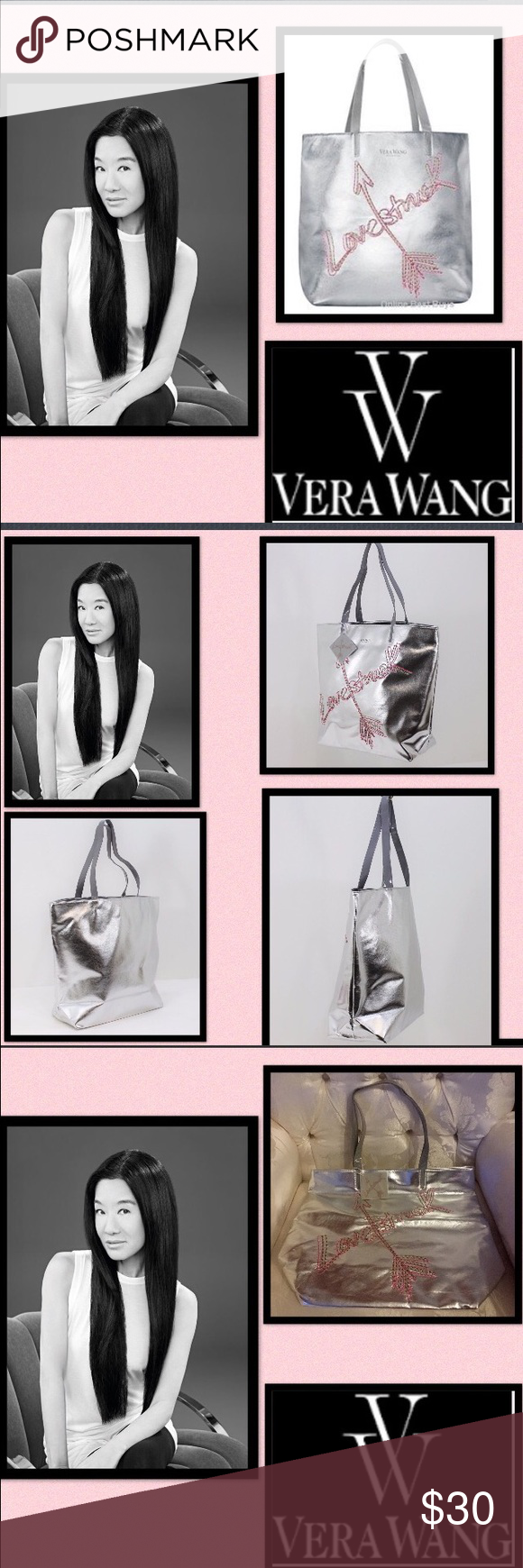 """🆕Vera Wang💘Love💘Struck💘Metallic Tote When the moon hits ur eye like a big pizza pie💘thats Amore💘You'll be love struck carrying this chic bag 💘Metallic Silver  Faux Leather 💘""""Lovestruck"""" embroided on front 💘Vera Wang Fragrances printed on top  💘2 High Gloss Patent Carry Handles 💘Fully Lined Wipe clean material  💘Flat based for easy storage  💘magnetic snap closure  Measures 16.5 x 14 x 5.5 inches Vera Wang Bags Totes"""
