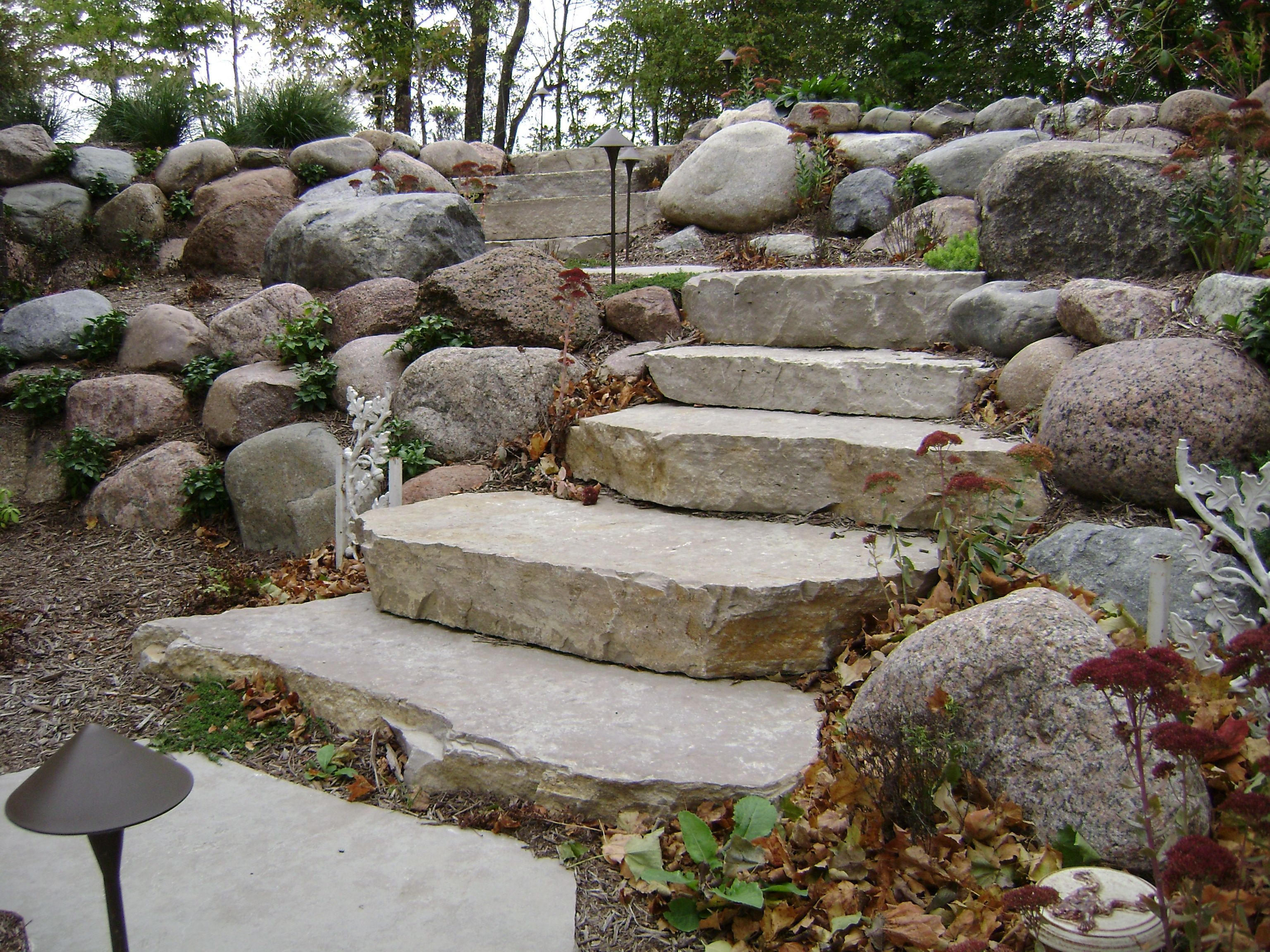 Outcropping Stone Steps Backyard Landscaping Landscaping With Rocks Garden Stairs