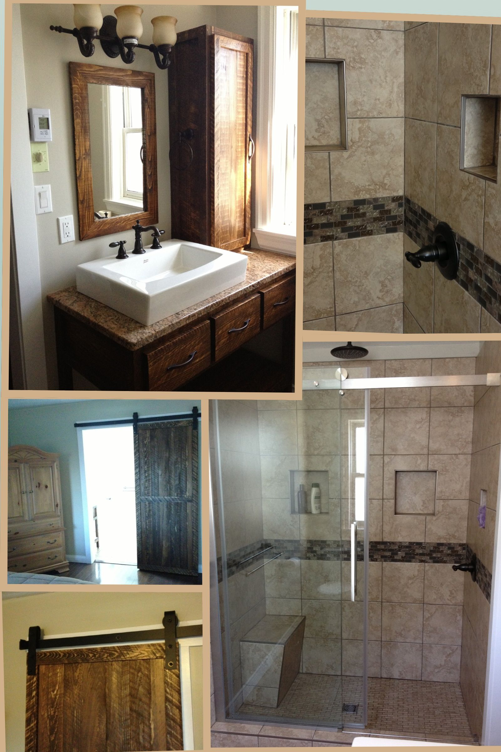 Bathroom Collage With Tiled Shower Glass Doors Custom Rustic Vanity By Exin Renovations