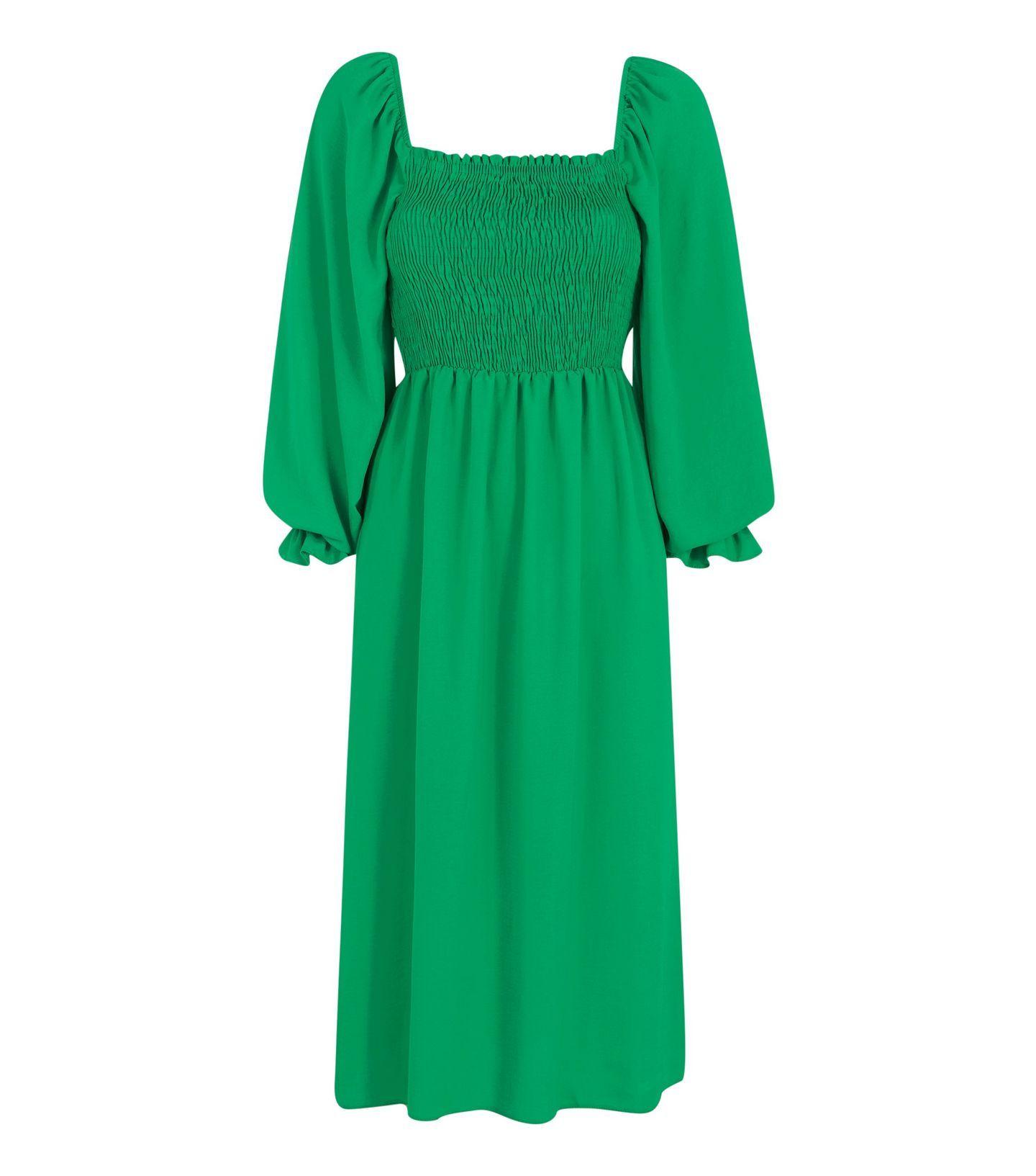 Black Shirred Square Neck Midi Dress New Look Midi Dress Dresses Green Midi Dress [ 1633 x 1440 Pixel ]