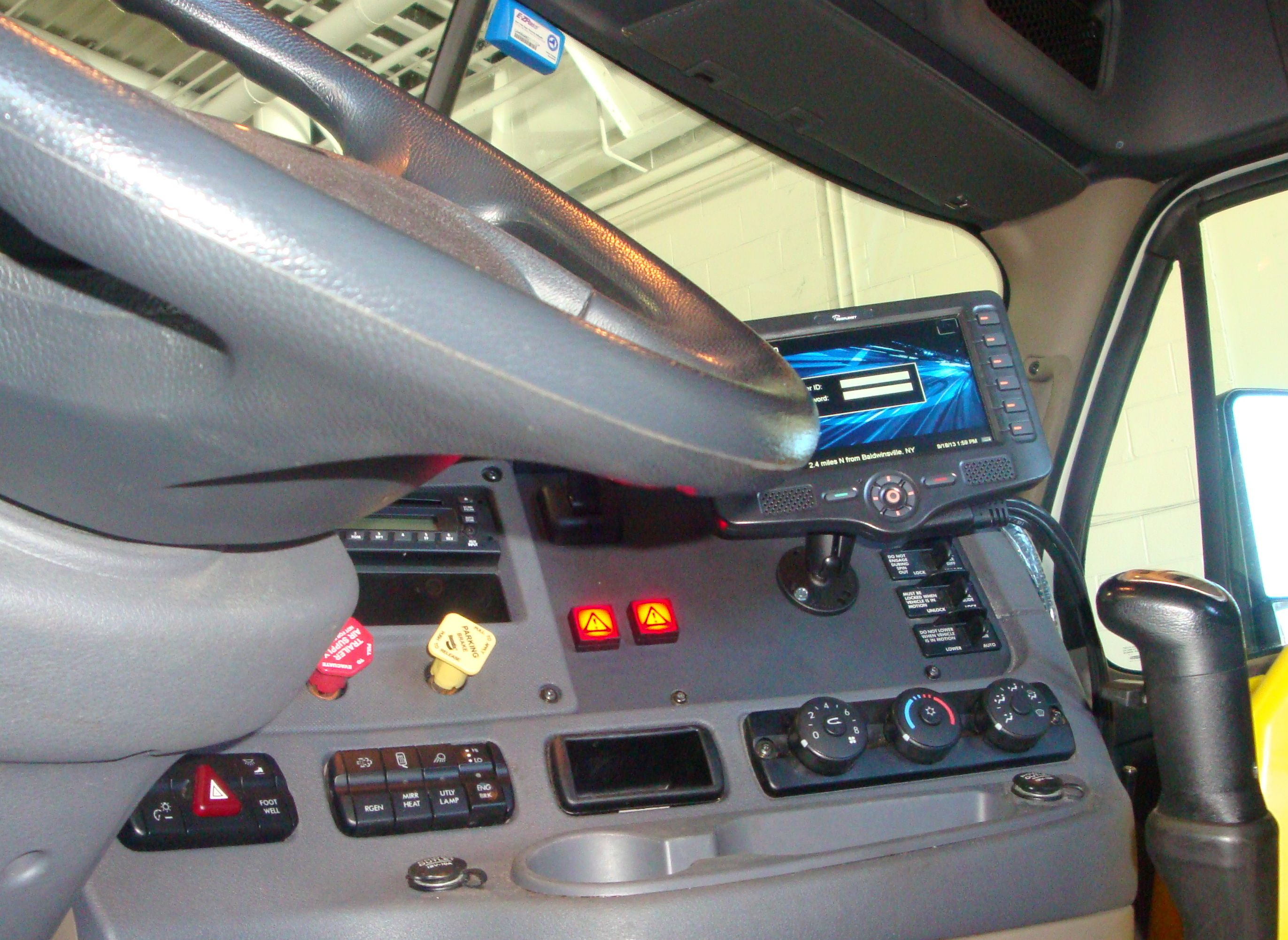 Freightliner Cascadia cab interior with HTS Systems LED dash release