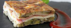 Tortilla de berenjenas rellenas de jamón y queso