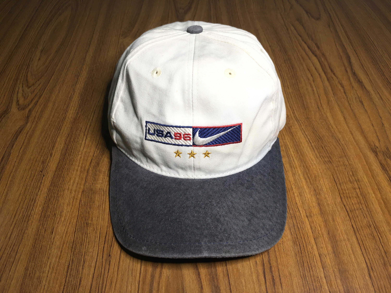 a2cb6eb72 Vintage Nike cap swoosh logo nike USA 96 embroidered two tone ...