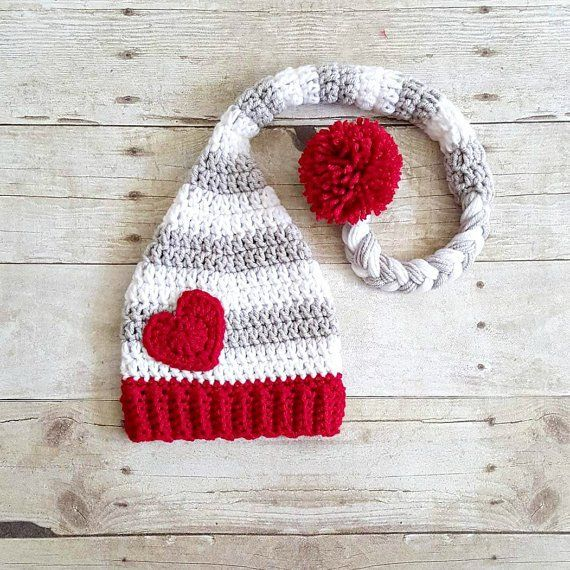 Crochet Baby Valentine\'s Day Heart Stocking Cap Beanie Hat Striped ...