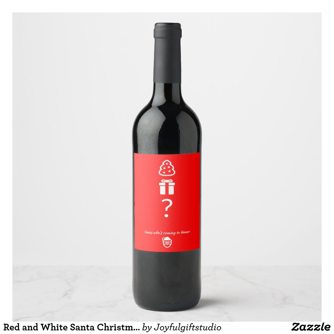 Red And White Santa Christmas Wine Label Zazzle Com Christmas Wine Christmas Wine Label Red And White