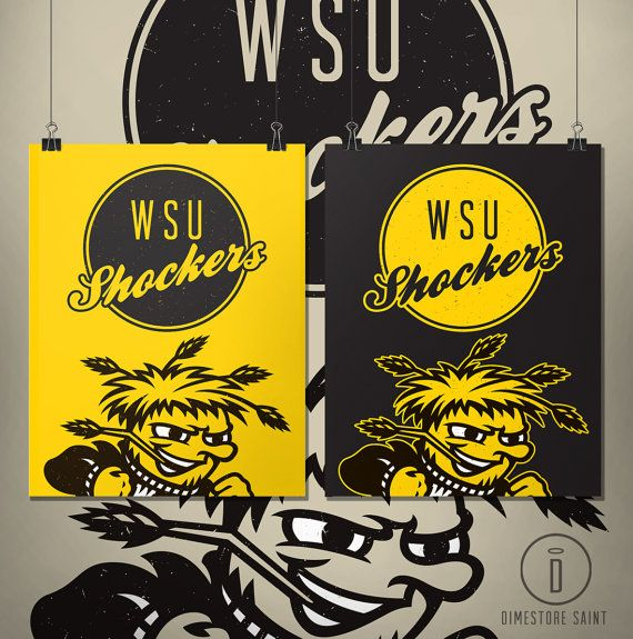 Wichita State Shockers Graphic Print By Dimestoresaintdesign Hand Painted Signs Graphic Prints Poster Prints