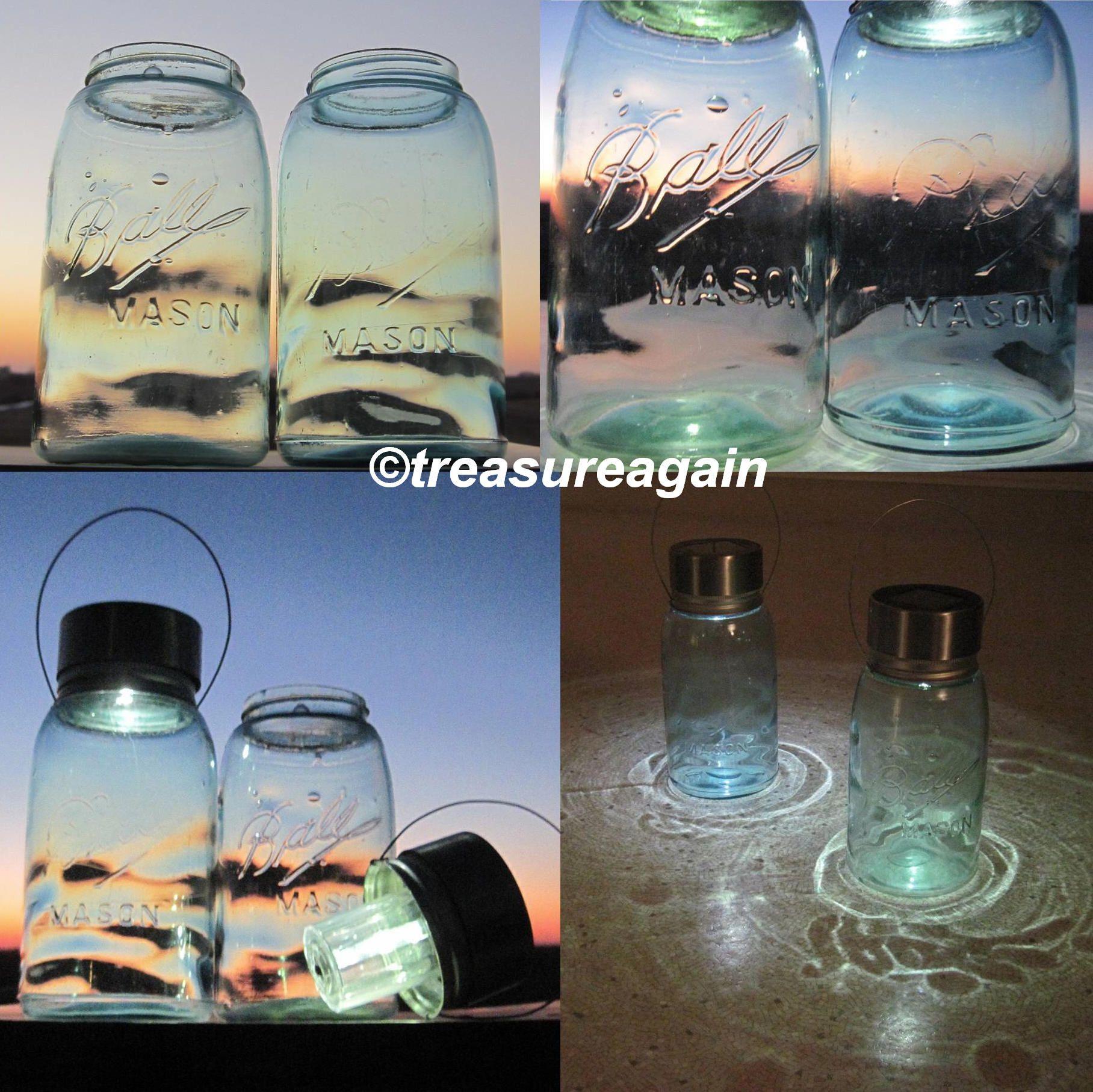 Wavy Blue Glass Lights 2 Hanging Mason Jar Solar Lights™ the Original Solar Lid http://etsy.me/1gvm0cX