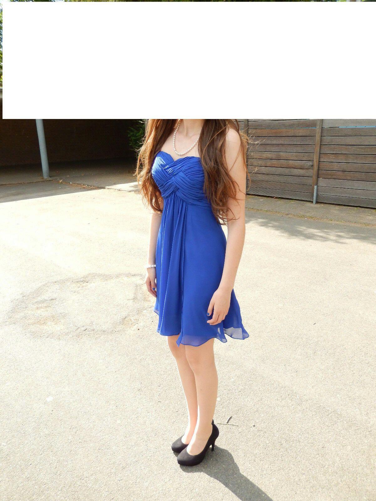 abendrobe ballkleid festlich blau-royal gr. xxs – kleider