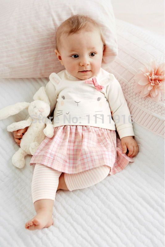 1 Set Retailkids Cute Baby Girls Clothes Long Sleeved Skirt