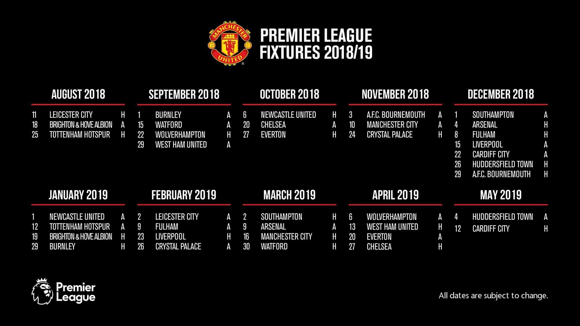 Manchester United Premier League Fixtures 2018 19