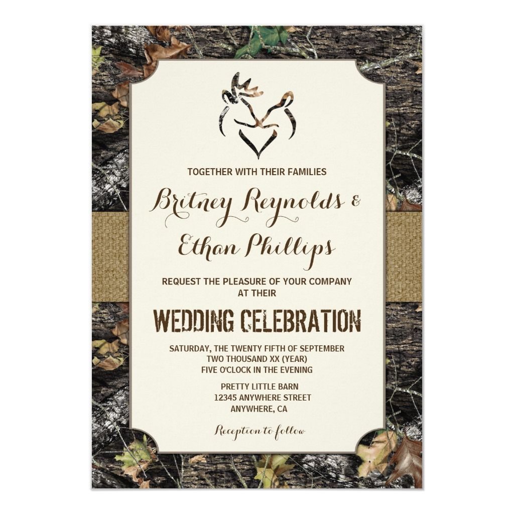 Burlap Deer Hunting Camo Wedding Invitations Zazzle Com In 2020 Camo Wedding Invitations Deer Wedding Invitations Deer Wedding