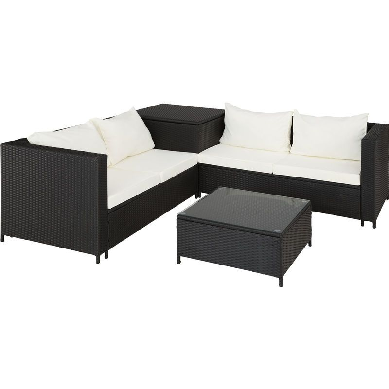 Salon De Jardin Sienne 4 Places Avec 2 Canapes Modulables 1 Table Basse En Resine Tressee Coffre Noir Tectake Outdoor Furniture Sets Outdoor Sectional Outdoor Furniture