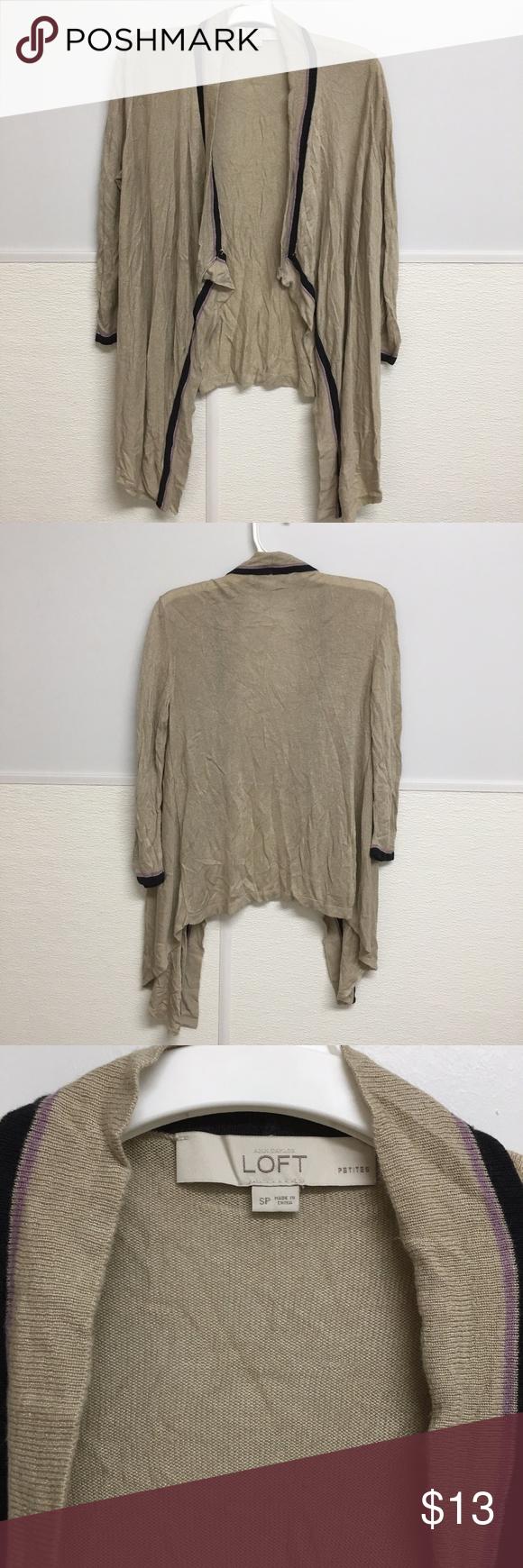 LOFT Open Waterfall Cardigan Sweater Silk Thin S P   Lofts, Silk ...