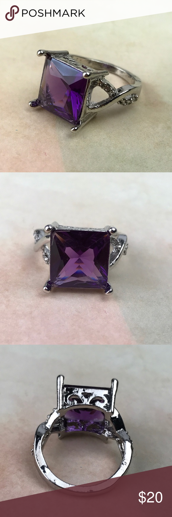 Purple Silver Ring Size 6 It is New Without Tags. Thank