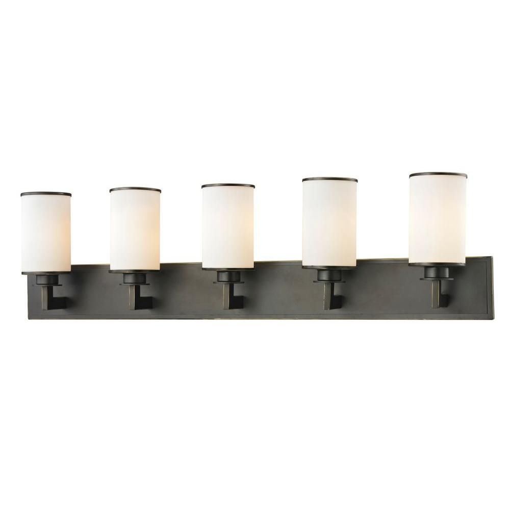 Photo of Filament Design Lacy 5-Light Brushed Nickel Steel Modern Bath Light with Matte Opal Glass Shades CLI-JB-036671 – The Home Depot