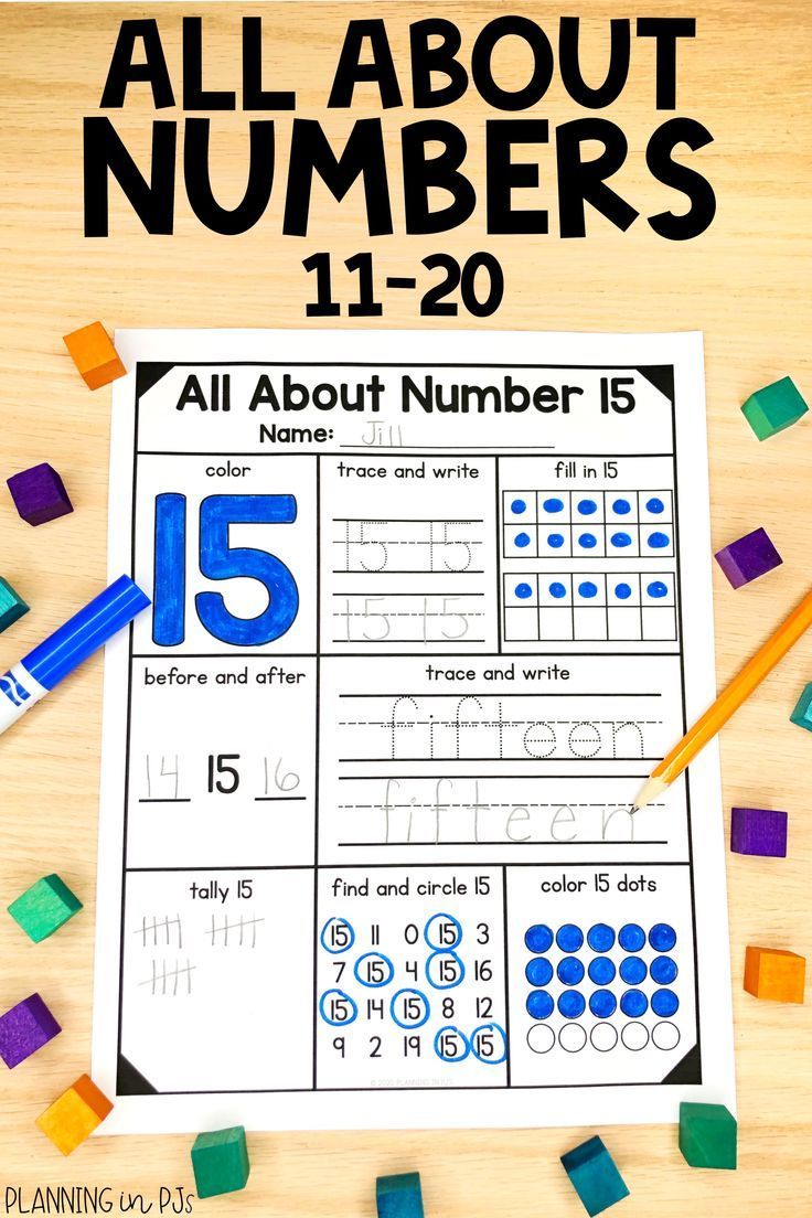 Number Representations from 11 to 20 Writing numbers