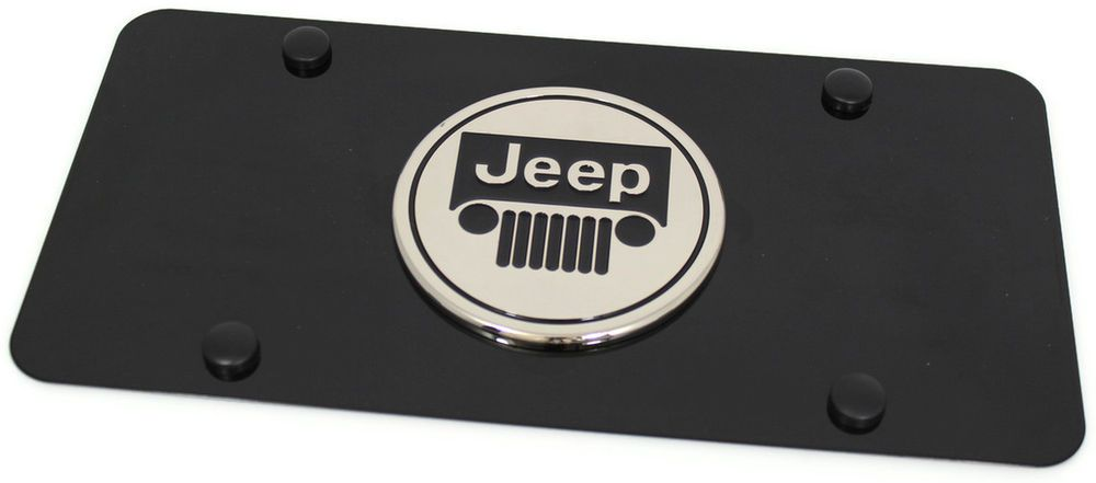 Jeep Logo Emblem Jeep Vehicle Logo Emblem Front License Plate Frame Black Stainless Jeep License Plate Black Stainless Steel