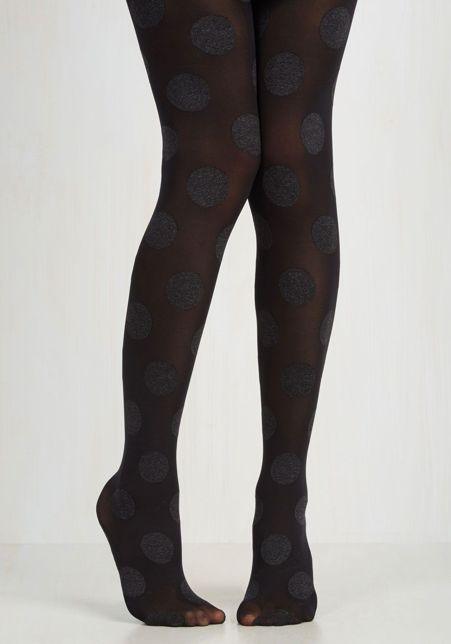 Dressed to Dance Tights in Noir. Hop on the dance floor in these polka-dotted tights and youll never want to hop back off! #black #modcloth