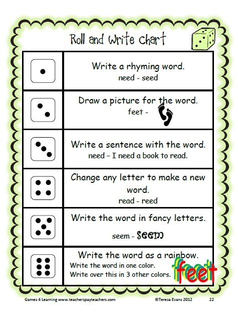 Long E Word Work Games And Activities Word Work Games