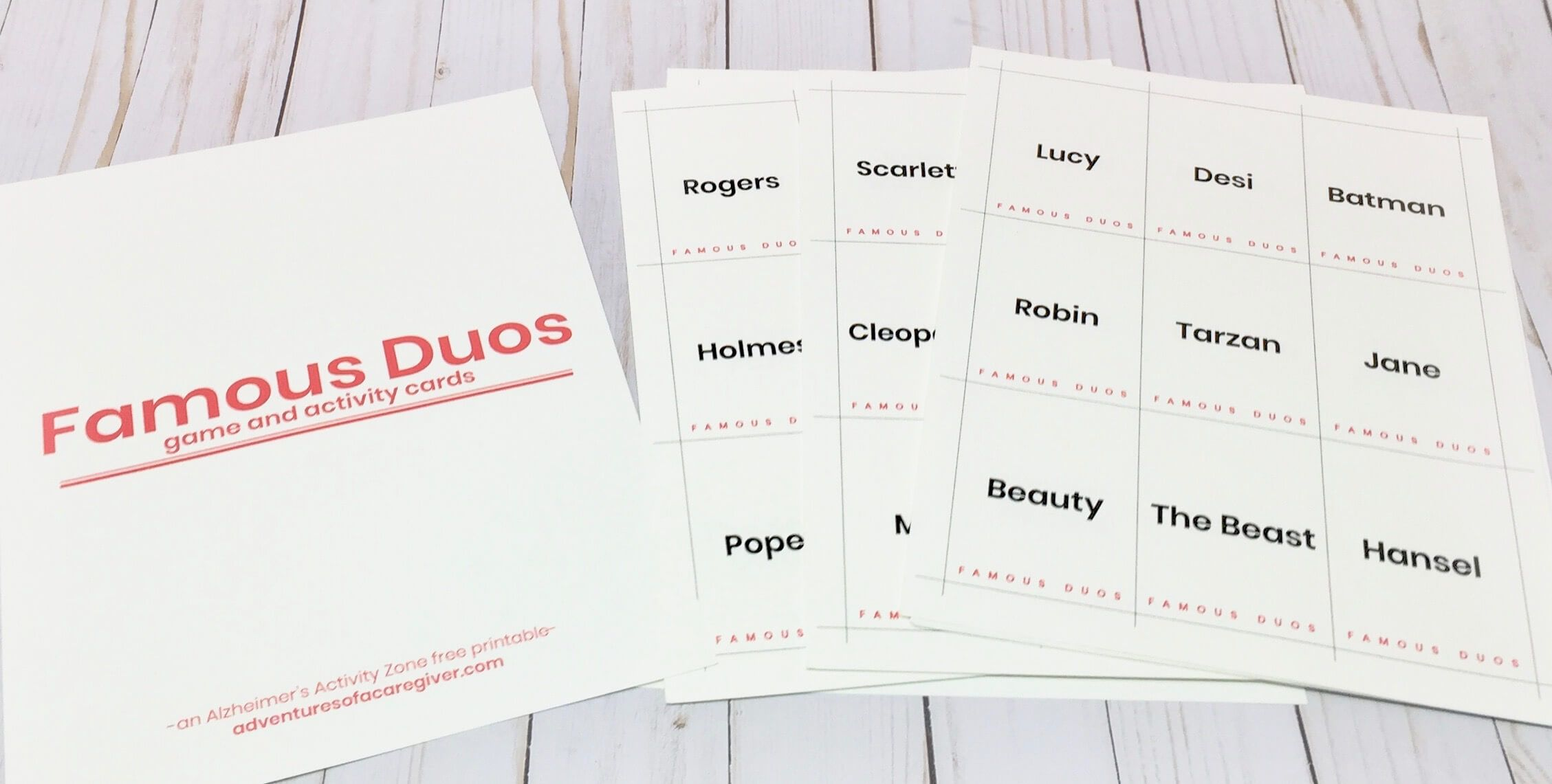 Famous Duos Free Printable