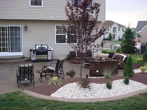 Patio Landscaping. Soften The Lines Of The Hard Scape With Landscape, Minus  The White Rocks.